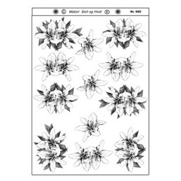 900 Blomster sort/ hvid