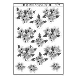 902 Blomster sort/ hvid