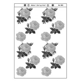 903 Blomster sort/ hvid