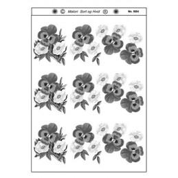 904 Blomster sort/ hvid