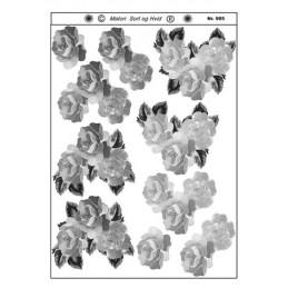 905 Blomster sort/ hvid