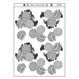 907 Blomster sort/ hvid