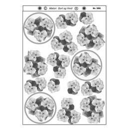 908 Blomster sort/ hvid