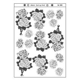 909 Blomster sort/ hvid