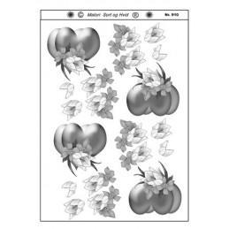 910 Blomster sort/ hvid